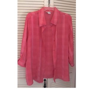 Joanna Button-Down Blouse with Attached Shell